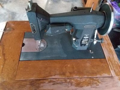 Antique sewing machine and table
