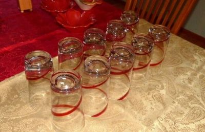Red Ribbon Swirl Beverage Glasses from Pier One