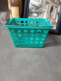 Small Teal Basket W/Silver Handle