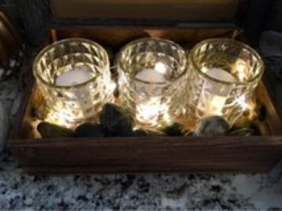 Home decor, candles, light up, tray, stones