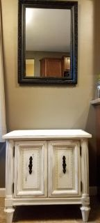 Distressed nightstand with mirror