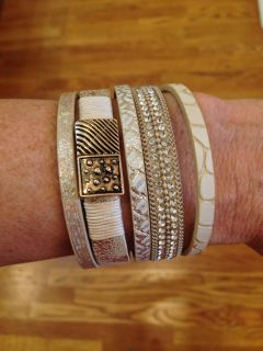 """JUST IN! BOUTIQUE 7.5""""L BEIGE MULTISTRAND TEXTURED LEATHER & CRYSTAL ACCENTED MAGNETIC CUFF, ANTIQUED GOLD TEXTURED PLATES! LOVELY!"""