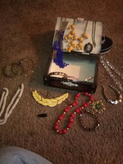 Vintage Jewelry in Wood Box