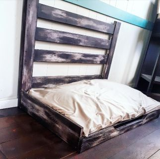 """Custom Handcrafted Rustic Dog Bed 42""""w x 27""""d. Perfect for med-XL doggy. Memory foam cushion with a washable cover"""