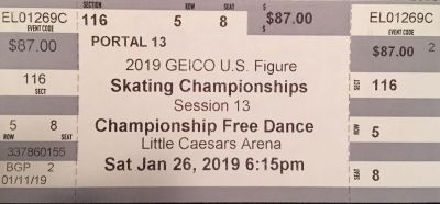 2 Tickets to 2019 U.S. Figure Skating Championships on Saturday 1/26