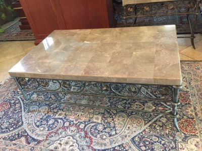 HEAVY Marble-topped coffee table and side table