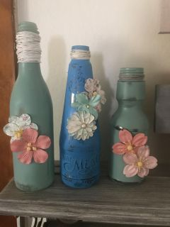 Hand painted vintage bottles for decor