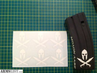 For Sale: Spartan Helmet and Cross Swords AR 15 Mag Sticker 6 Pack