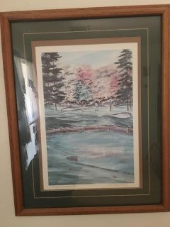 SET OF 2 BEAUTIFUL SIGNED, MATTED & WOOD FRAMED PICTURES OF GOLF SCENES