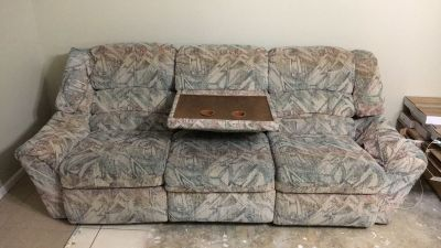 Couch with fold down table/ cup holder