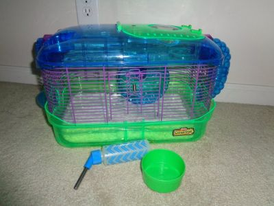 Hamster LED spy Habitat cage w/liner and bedding