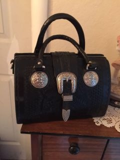 American West Black Leather Tooled Purse **Has shoulder strap also** Pics in comments
