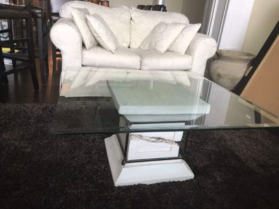 FOUR glass and rock tables-coffee, 2 side tables and a sofa table