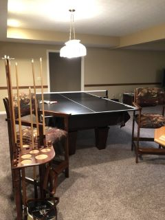 Pool Table / Pool Cues / 2 Chairs / Ping Pong Accessory