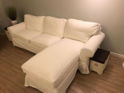 IKEA ectorp sofa couch with chaise, white