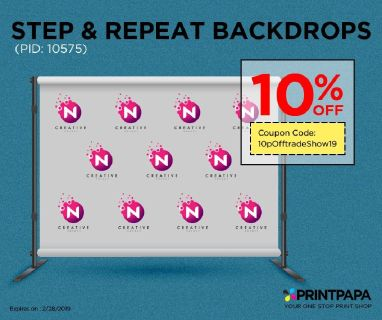 Get 10% discount on Step and Repeat Backdrop from PrintPapa