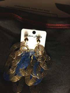 Gold and blue dangle earring.Very full.New and sealed.Only one