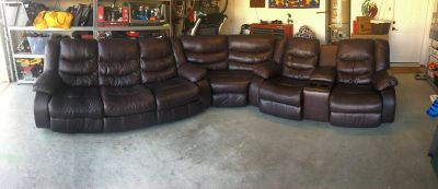 Ashley leather sectional sofa recliners