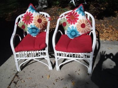 SET OF WHITE CAIN CHAIRS