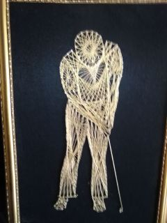 Golfer in gold thread