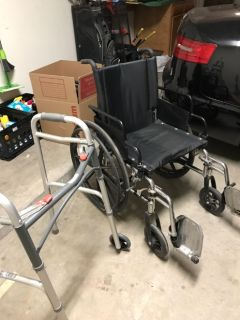 Small Wheelchair with feet rests and Walker. $50.00