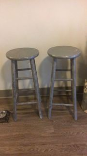 Two wooden bar stools painted gray $15 ppu fcfs