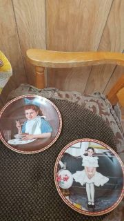 """2 Norman Rockwell Porcelain Plates of Girls! Mint condition. """"GOOD INTENSIONS"""" & """"SITTING PRETTY"""""""