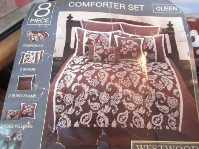 8 Piece Queen Comforter Set By Westwood Originals Brown White Floral