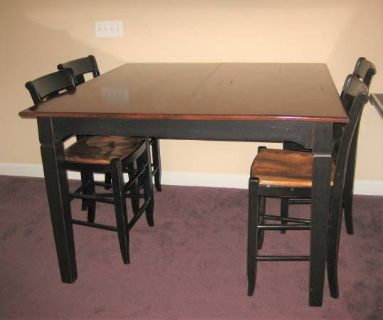 Wood Pub Table and 4 Chairs