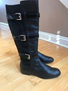CALVIN KLEIN WOMENS HILLARY BUCKLE RIDING BOOTS BLACK SIZE (8.5 M)