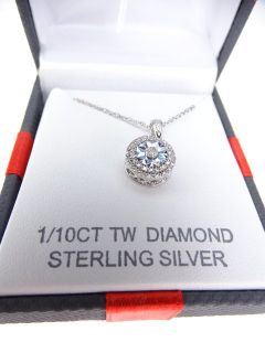 Sterling Silver & Diamond Pendant Necklace