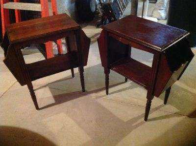 Antique end tables with Magazine racks