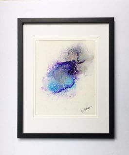 Raindrop Dance Original Hand Painted Alcohol Ink Art Framed