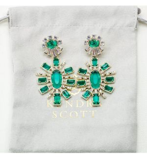 Brand new, emerald and gold, Kendra Scott Glenda earrings!