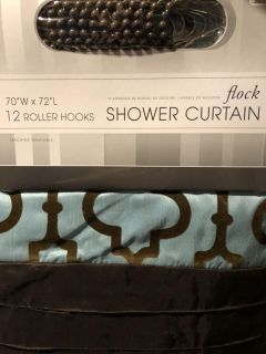 Shower Curtain and 12 hooks