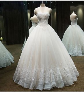Sheala's Elegant A Line Strapless Wedding Gown
