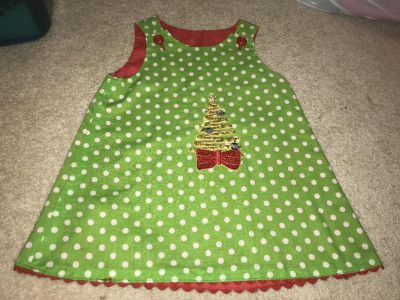 EUC THE WOMENS EXCHANGE HANDMADE REVERSIBLE HOLIDAY DRESS