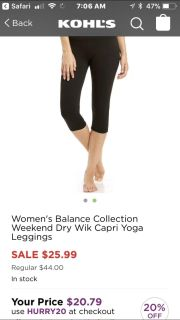 NWT - Balance Collection Dry Wik Capris