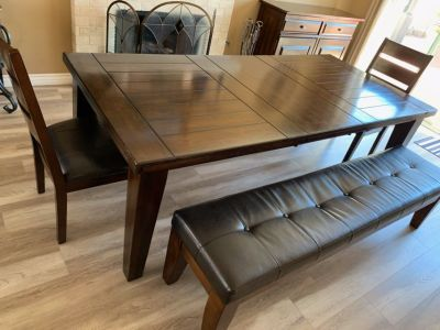 Cross posted. Dining table and buffet table with 2 benches, and chairs.