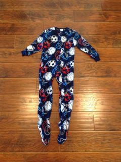 Sports footed fleece pajamas size small