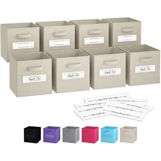 Set Of 8 Fabric Storage Cubes with Dual Handles & 10 Label Window Cards (Beige)