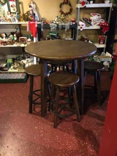 Solid Wood Pub Bar Height Table and Chairs (Space Saver)