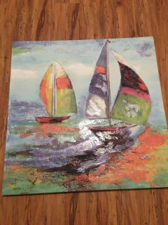 30X30 Sailboat painted canvas