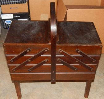 Vintage, Large Accordian Fold Out 3 Tier Wooden Sewing Box Footed with 9 Compartments