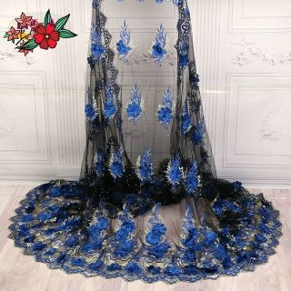 High quality 3D Lace French Net Lace Febric 2019.(5yards)