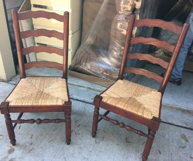 2 Vintage Heavy Oak Dining Table Side Chairs French County Ladder Back Woven Rush Seat Chair Pair