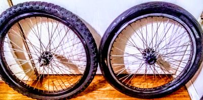 Two 17 inch bike wheels and tires.