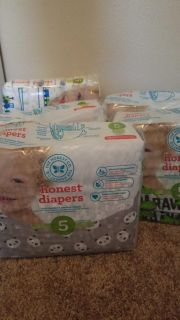 5 packs of Size 5 Honest Diapers-all unopened