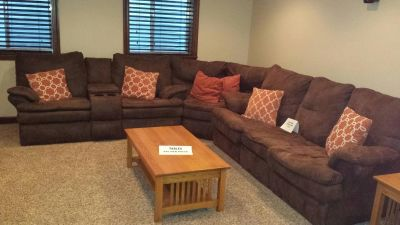 Brown sectional w/sleeper sofa and two recliners