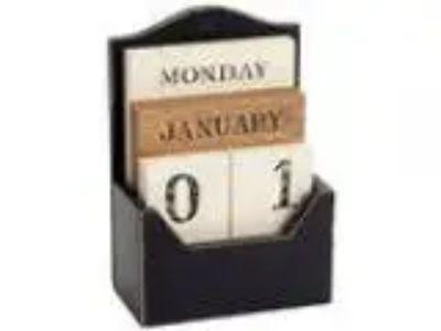 Vintage Wooden Block Perpetual Calendar Shabby Rustic Tile Desig